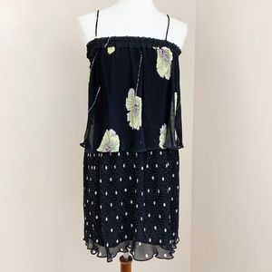 1. State Mixed Print Pleated Layered Shift Dress